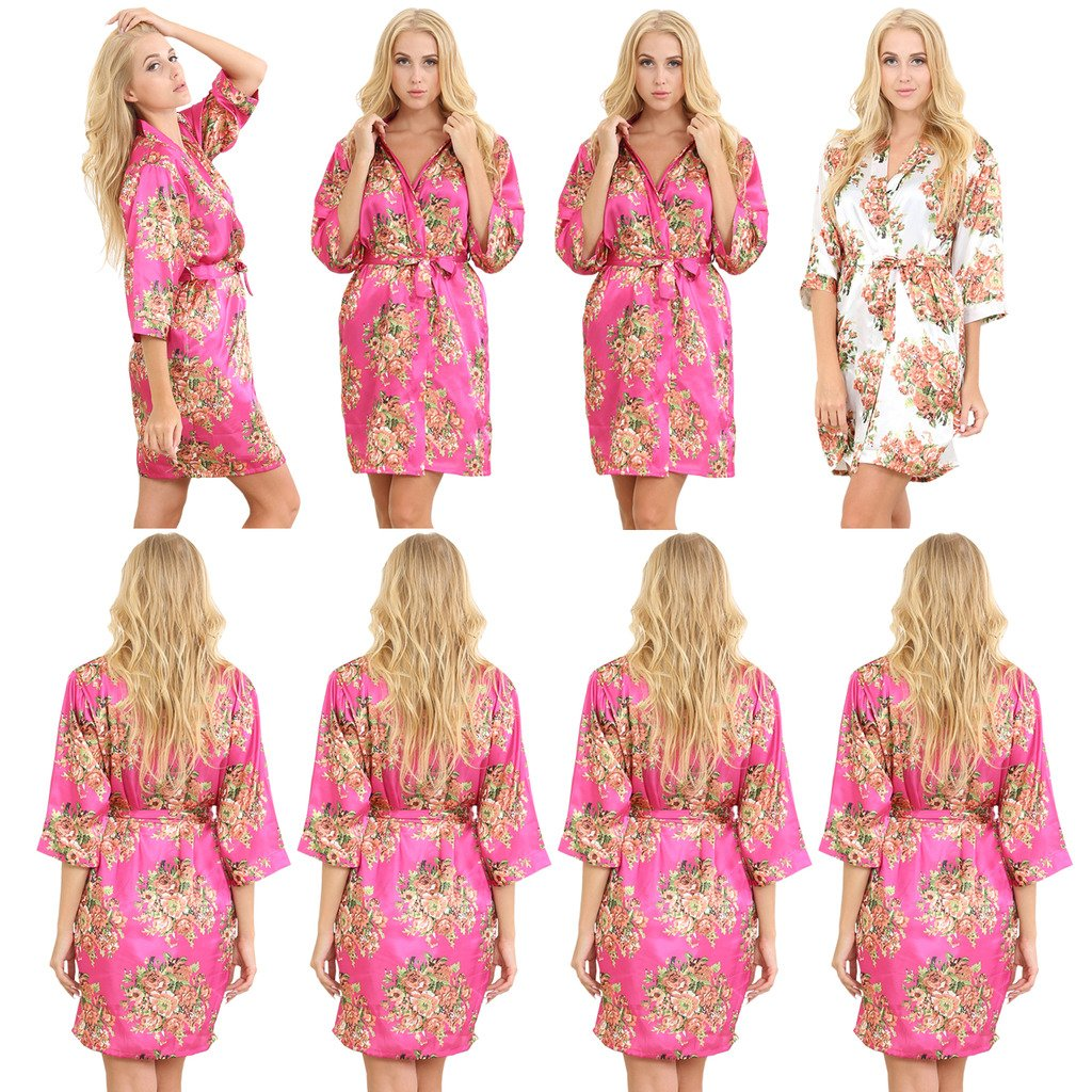 Mr & Mrs Right Set Of 8 Women's Satin Short Floral Wedding Robes - Bridesmaids Dressing Gown