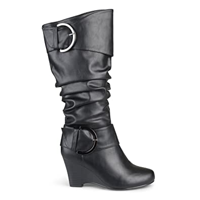 96deca277 Brinley Co. Womens Buckle Tall Faux Leather Boots Black, 10 Extra Wide Calf  US