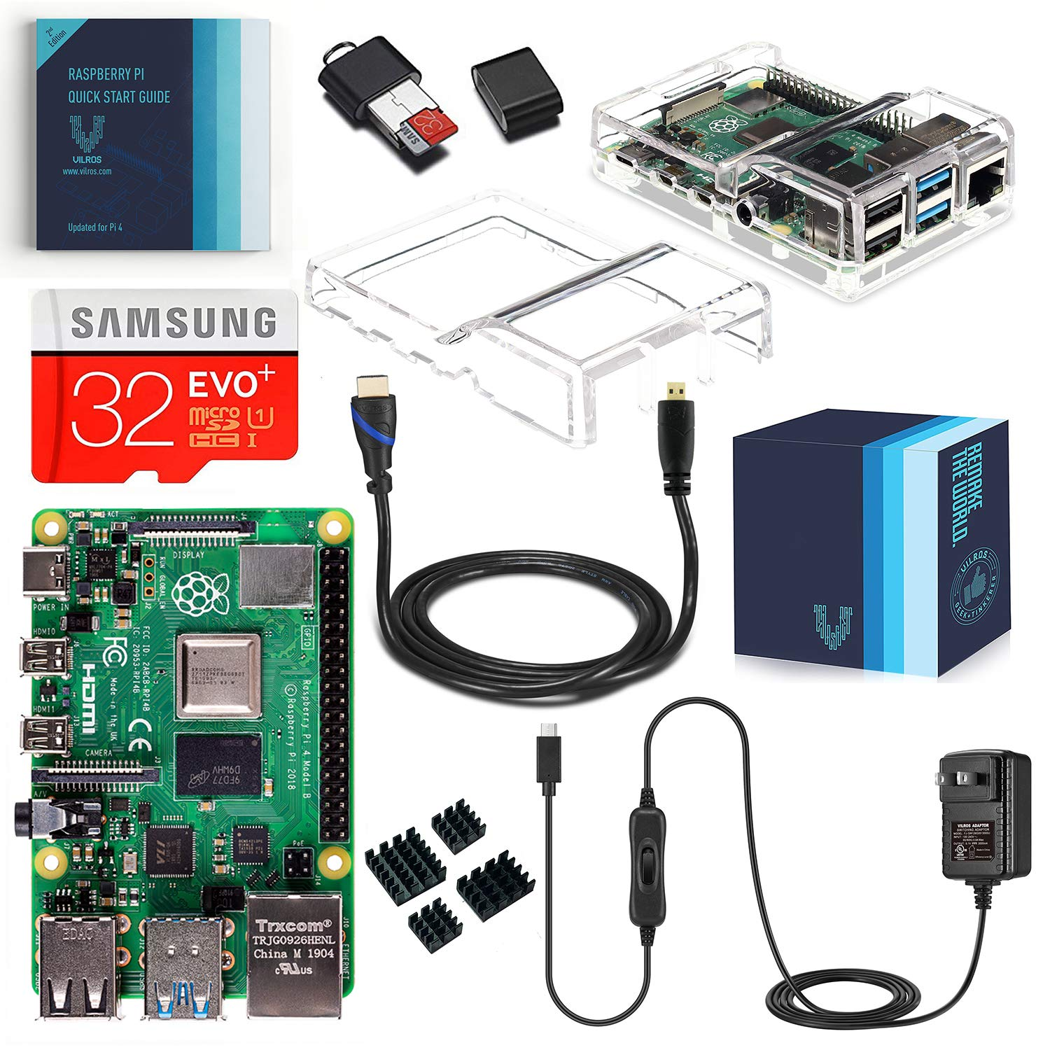 Vilros Raspberry Pi 4 Complete Starter Kit with Dual Cover Clear Case (4GB) by Vilros