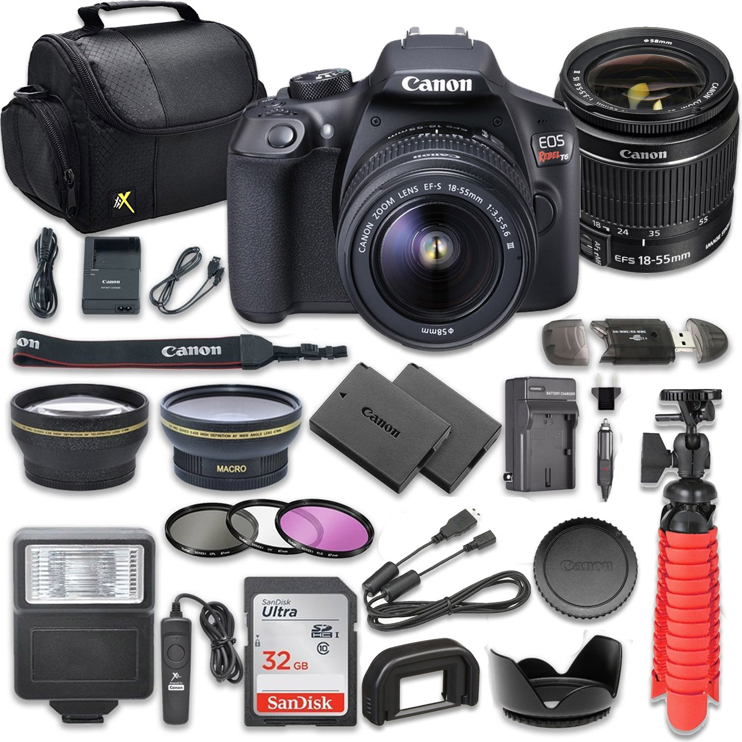 Canon Eos Rebel T6 Dslr Camera Bundle With Canon Ef S 18 55mm F 3 5 5 6 Is Ii Lens Sandisk 32gb Memory Card Accessory Kit