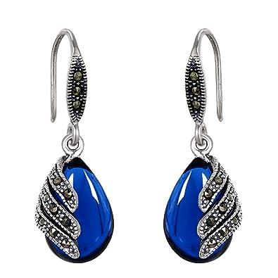 EVER FAITH 925 Sterling Silver Red Corundum Crystal Bridal Art Deco Retro Teardrop Hook Dangle Earrings POfelu7d5Y