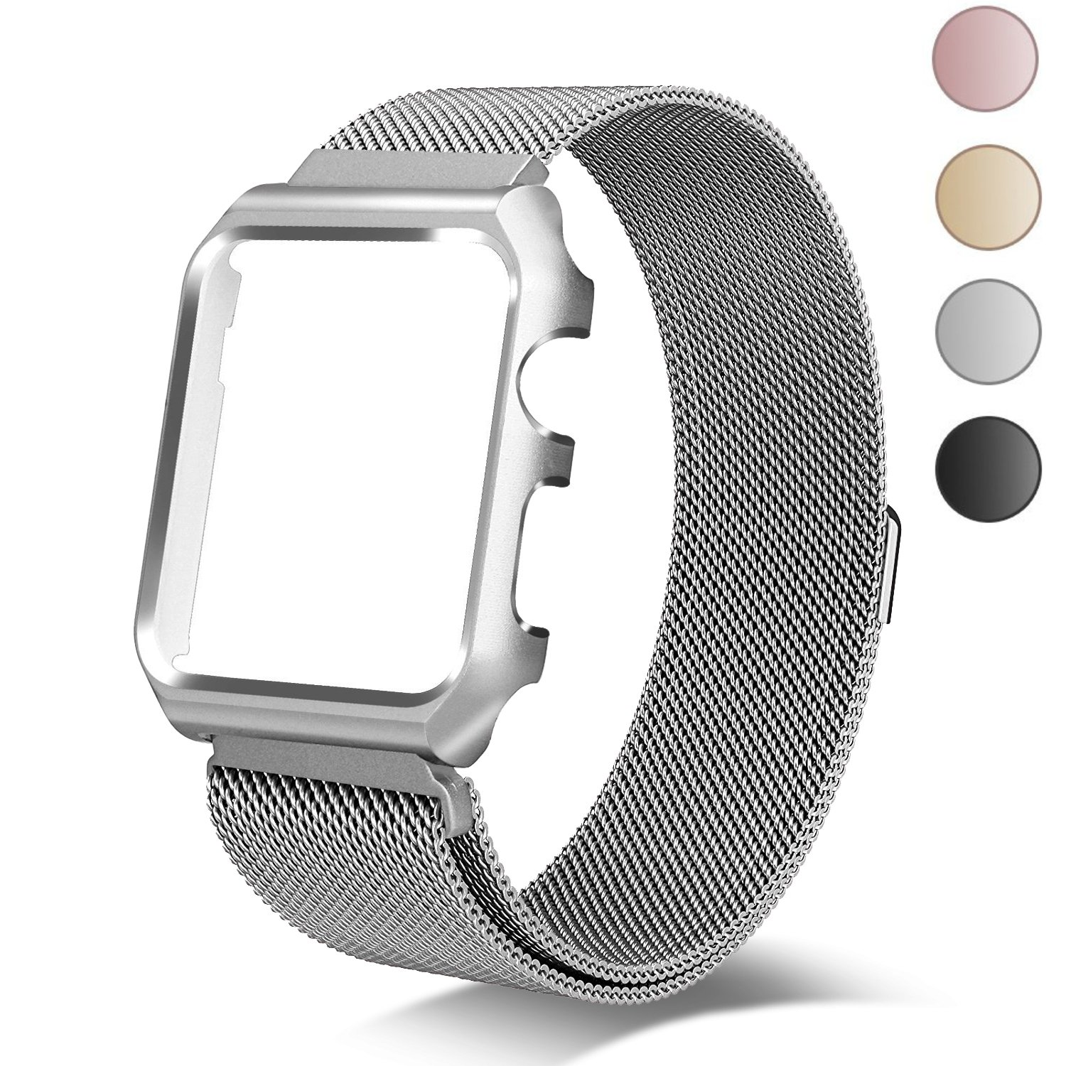 Chouqing 38mm Stainless Steel Mesh Band with Magnetic Closure Replacement Milanese Loop with Protective Case Compatible Apple Watch Band Series 3 Series 2 Series 1 Sport & Edition - Silver