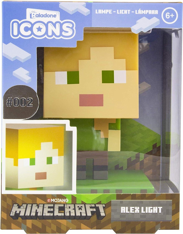 Paladone Minecraft Alex Icon Light BDP  Mini Night Lamp Fun Pixelated   Super Bright Collectable, Multi Coloured