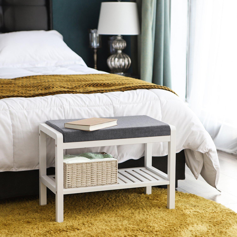 Schuhschrank mit Sitzkissen,Schuhregal B x H x T SONGMICS Bambus Sitzbank Schuhbank mit 2 Ablagen für Wohnzimmer,Schlafzimmer,Flur,Diele 60 x 43 x 32 cm natur-grau LBS65N