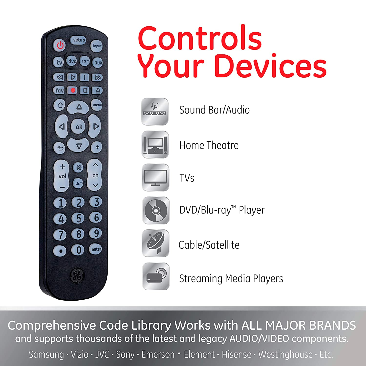 GE Universal Remote Control, Backlit, for Samsung, Vizio, Lg, Sony, Sharp,  Roku, Apple TV, RCA, Panasonic, Smart TVs, Streaming Players, Blu-Ray, DVD,