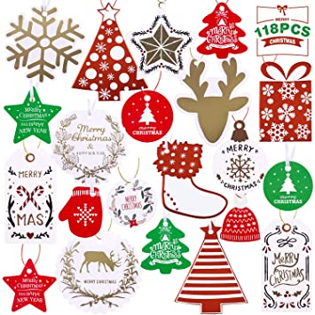Christmas Gift Tags.118 Count Christmas Gift Tags 21 Assorted Designs For Diy Xmas Present Gift Wrapping And Label Name
