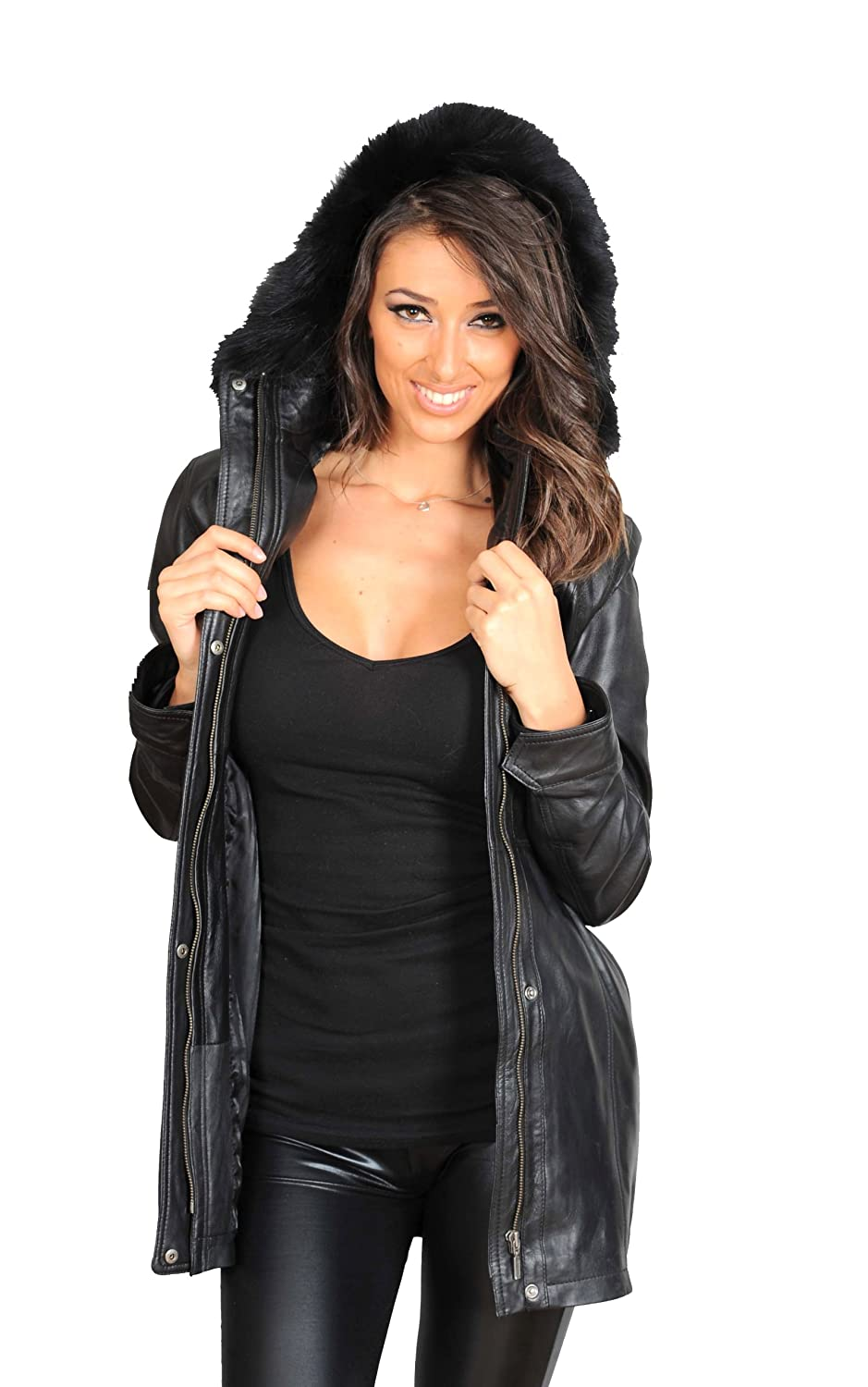 Ladies Fitted Parka Real Leather Coat With Detachable Fur Hood ...