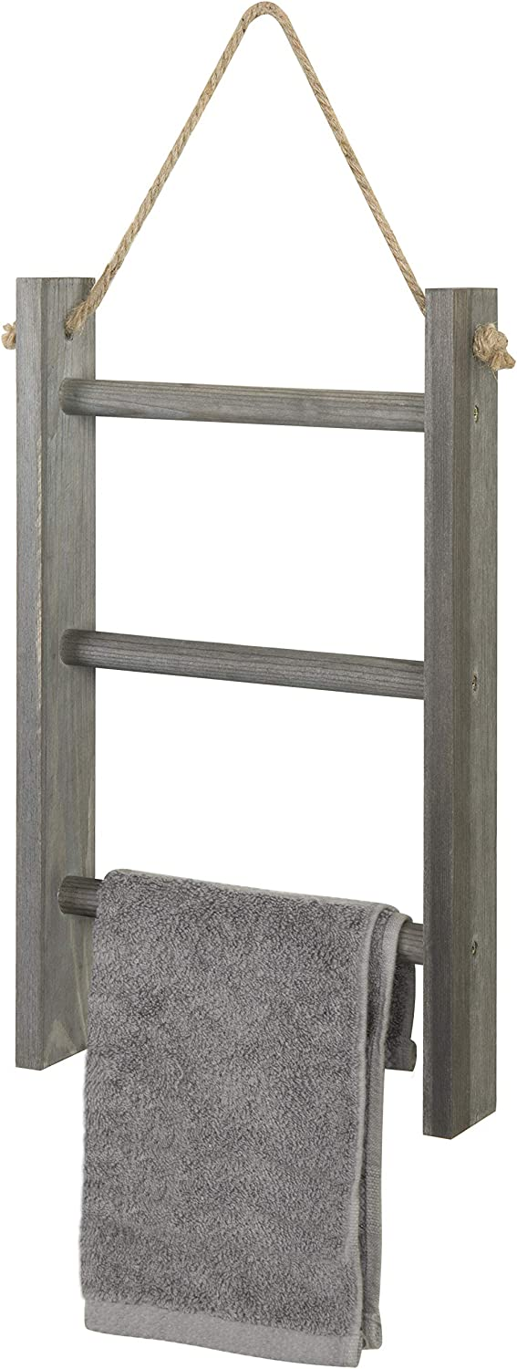 MyGift 3-Tier Rustic Wood Wall-Hanging Towel Ladder with Rope, Gray