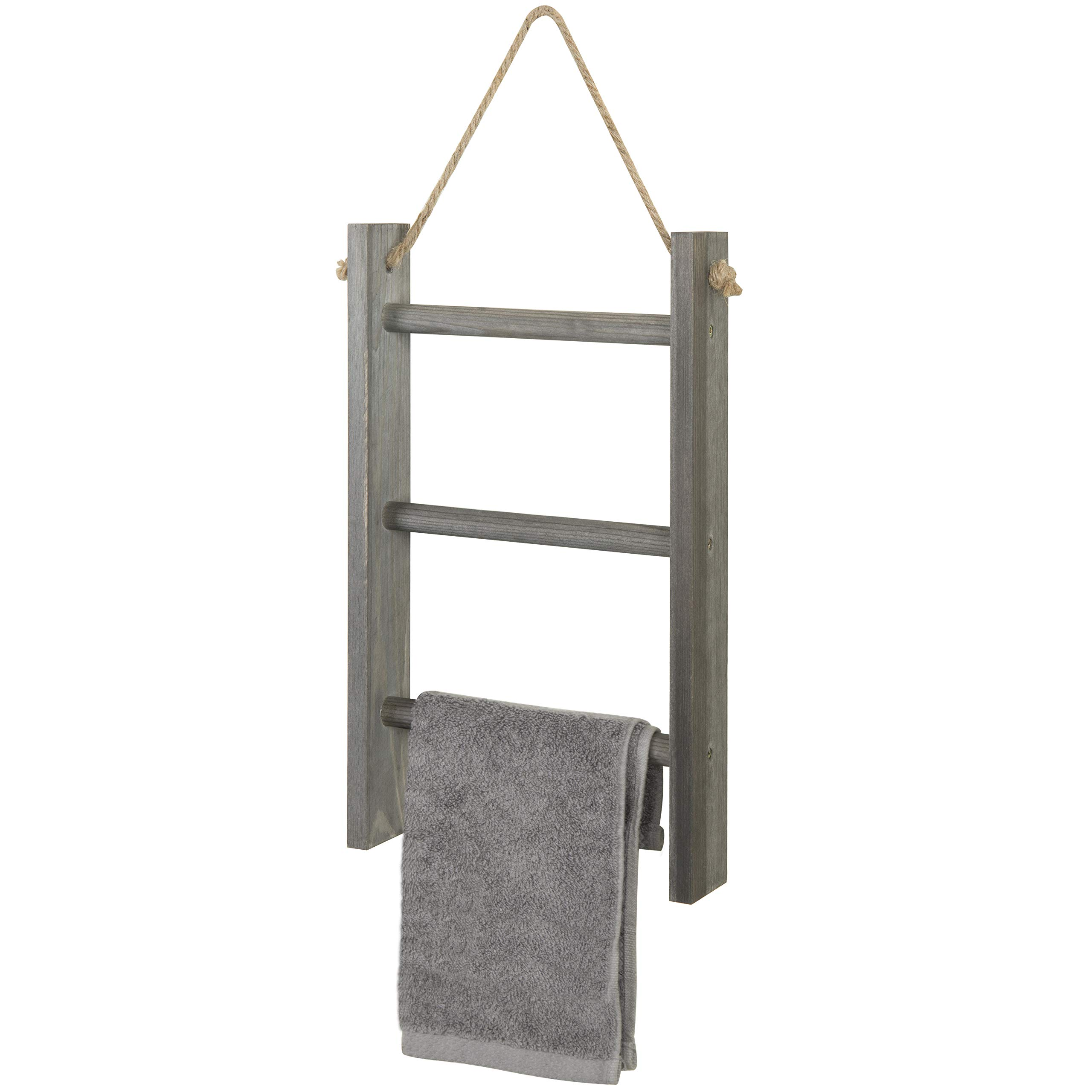MyGift 3-Tier Rustic Wood Wall-Hanging Towel Ladder with Rope, Gray by MyGift
