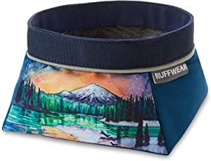 RUFFWEAR, Artist Series Quencher Dog Bowl, Collapsible and Portable Food and Water Dish, Sparks Lake
