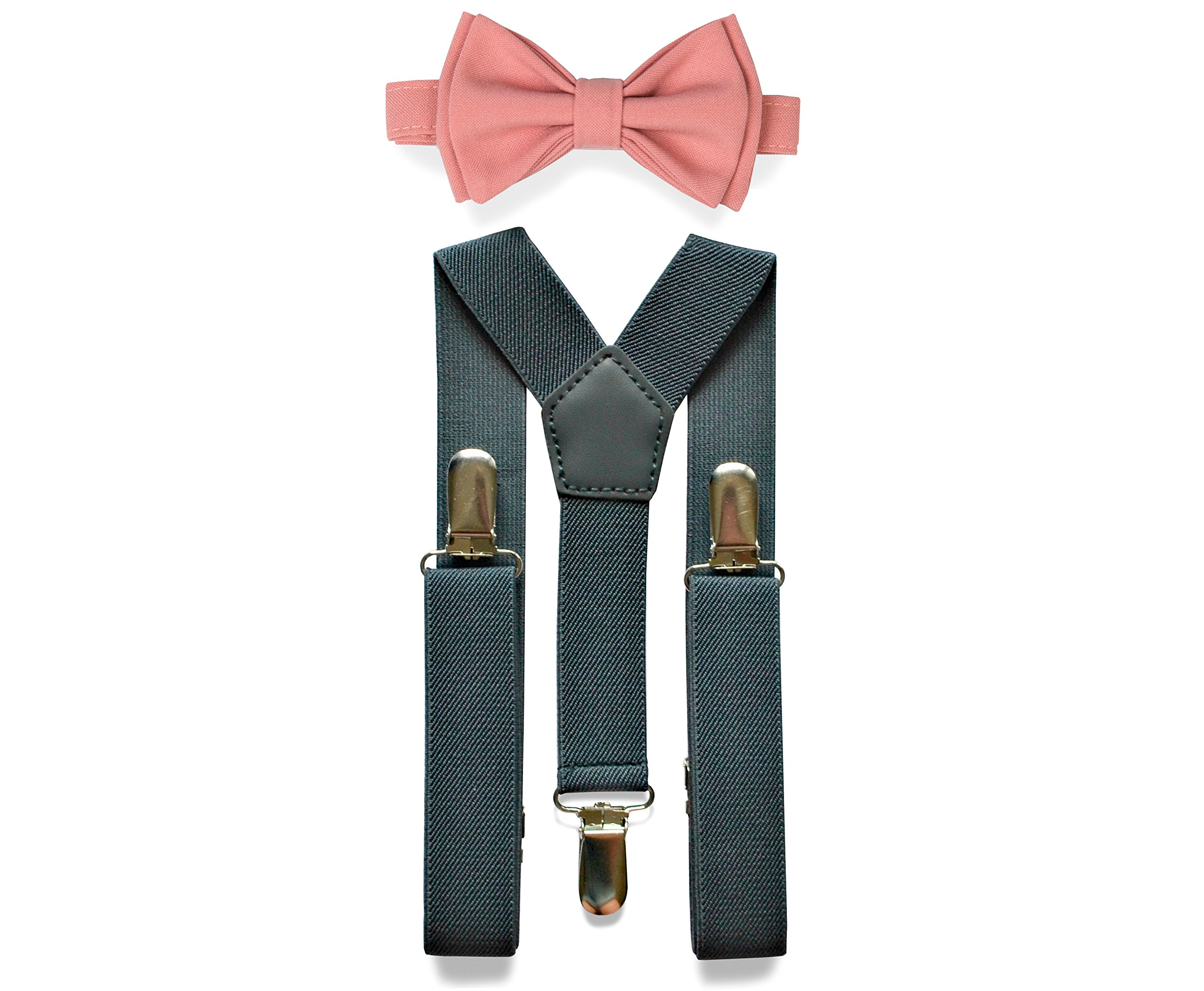 Charcoal Grey Suspenders & Bow Tie Set for Baby Toddler Boy Teen Men (2. Toddler (18 mo - 6 yrs), Charcoal Grey Suspenders, Dusty Rose Bow Tie)