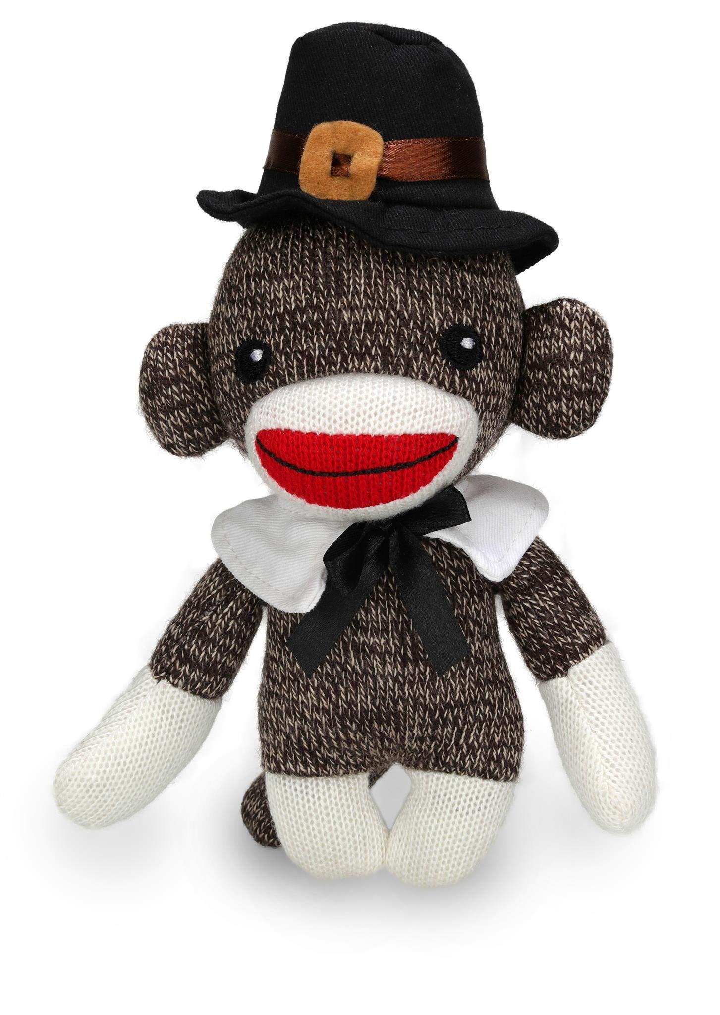 76c50dc04 Plushland Stuffed Pilgrim Sock Monkey - with Cute Hat and Collar - Plush  Stuffed Toy for Kids on Tha