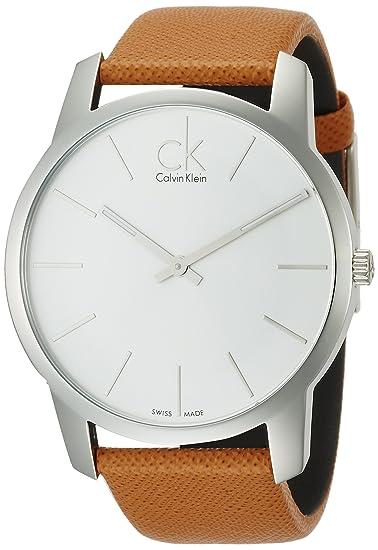 Calvin Klein K2G21138 - Reloj analógico de caballero de cuarzo con correa de piel marrón: Amazon.es: Relojes