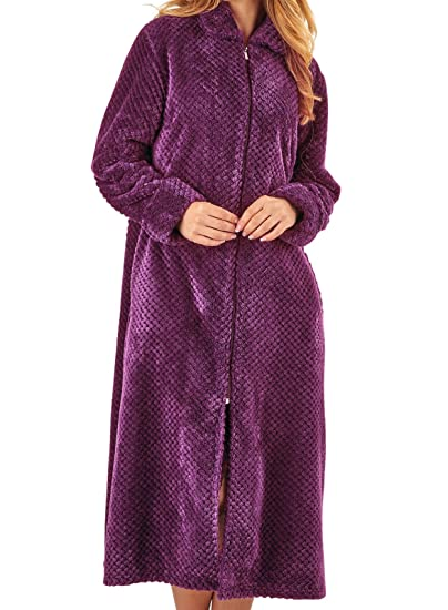 Slenderella Womens Zip Up Waffle Fleece Dressing Gown Ladies Super Soft  Bath Robe Small (Plum)  Amazon.co.uk  Clothing 0ebeb08ad