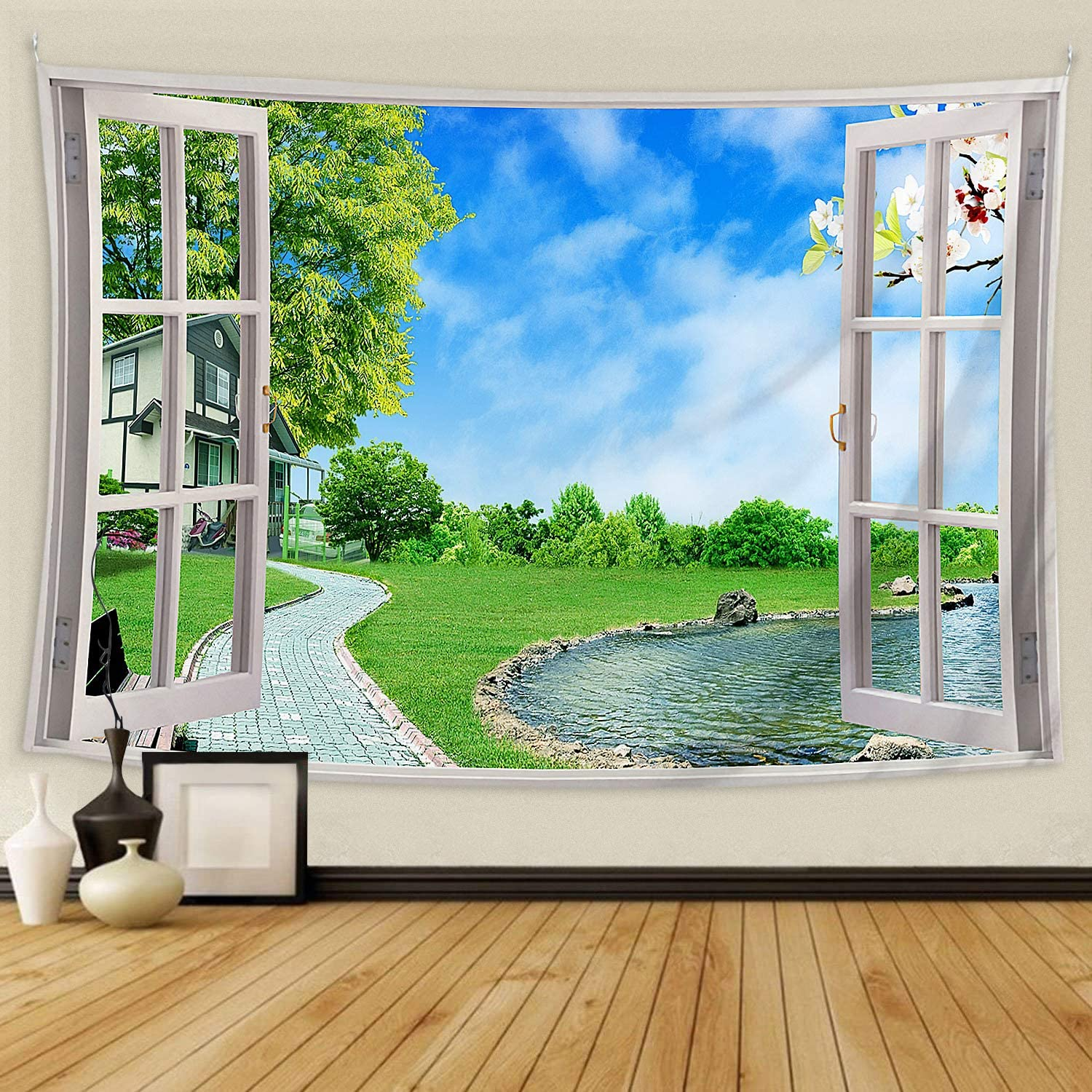 BOOPBEEP Bedroom Tapestry Wall Hanging Nature Landscape Windows Wall Tapestries with Soft Comfort/ No-fading/ Lightweight/ HD Prints/ Color Vibrant Use for Dorm, Livingroom Decor (90x60IN, Nature)