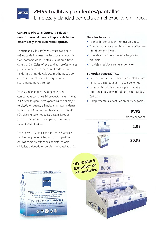 ZEISS toallitas para limpieza lentes y pantallas (CAJA DE 30 UNIDADES): Amazon.es: Salud y cuidado personal