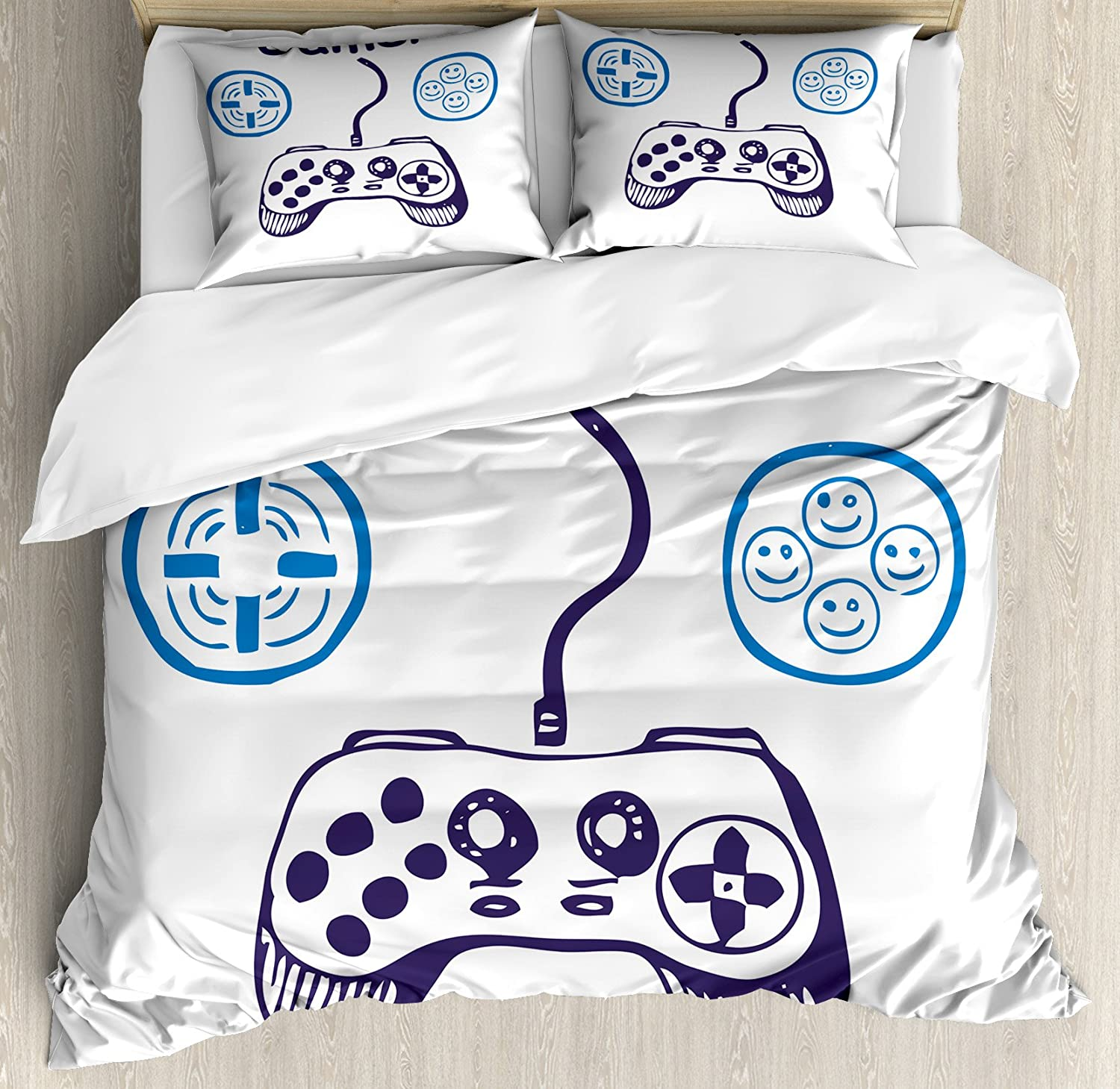 Lunarable Gamer Duvet Cover Set, Sketch of Videogame Controller with D-Pad and Smiling Buttons Design, Decorative 3 Piece Bedding Set with 2 Pillow Shams, Queen Size, Azure Blue