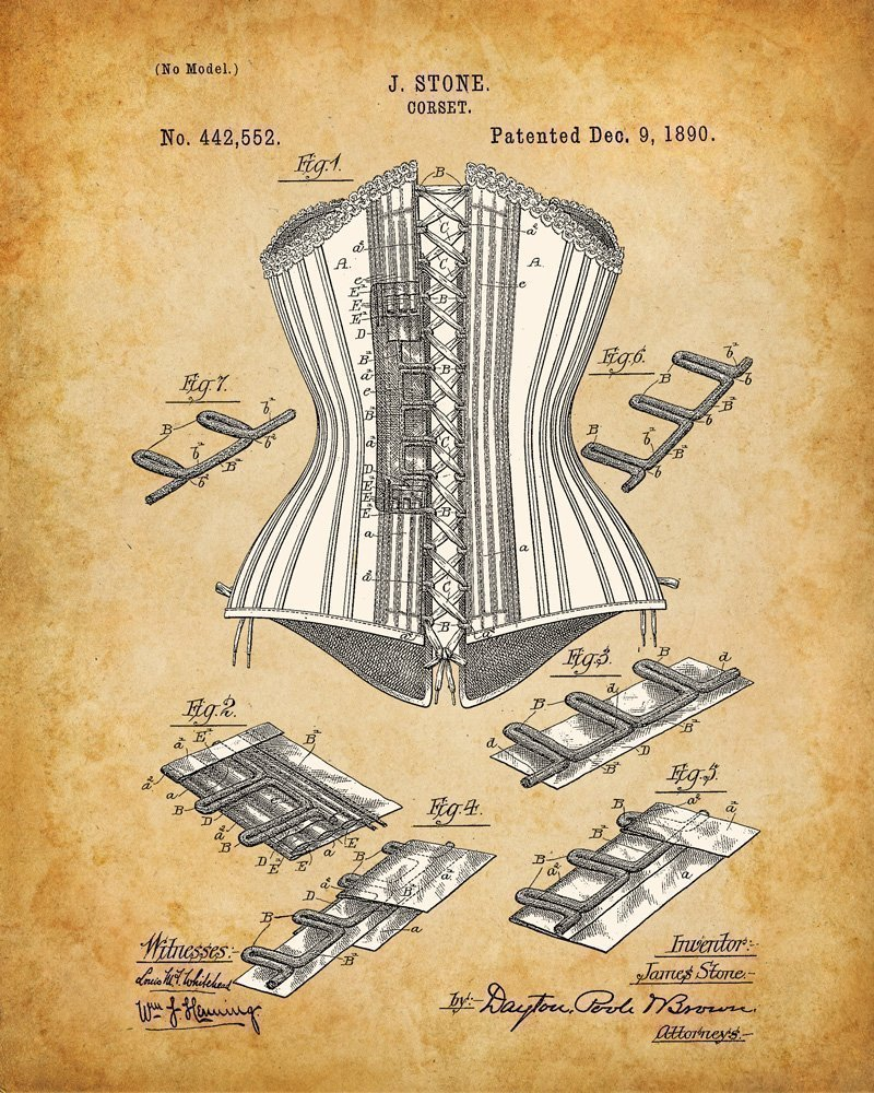 Original Corsets Patent Art Prints - Set of Four Photos (8x10) Unframed - Makes a Great Gift Under $20 for Goth, Pinup… 4
