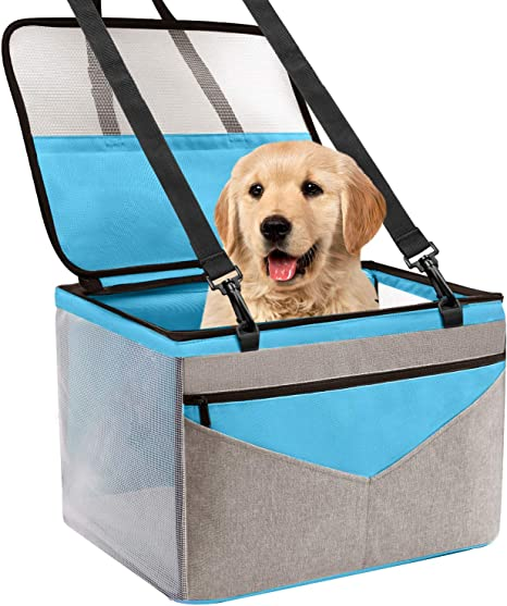 Blue Pet Dog Car Seat Upgrade Deluxe Portable Pet Dog Booster Car Seat with Clip-On Safety Leash,Perfect for Small Pets