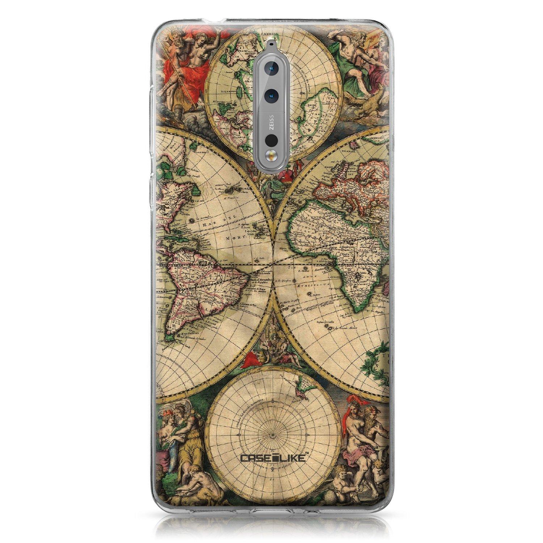 CASEiLIKE/® Funda Nokia 8 Carcasa Nokia 8 TPU Gel Silicone Protectora Cover Mapa del Mundo de la Vendimia 4607