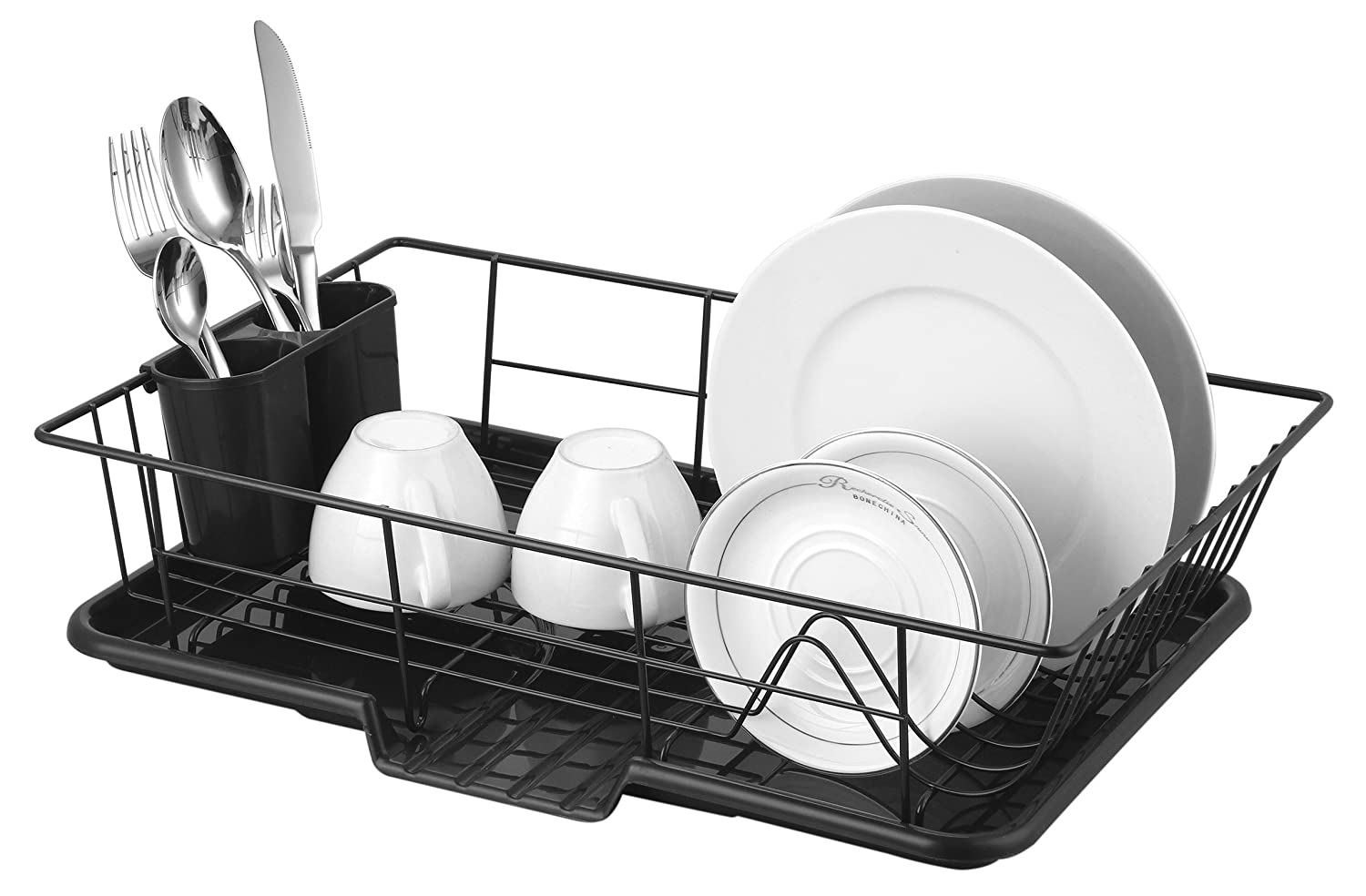 "Sweet Home Collection 3 Piece Rack Set Dish Drainer Drain Board and Utensil Holder Simple Easy to Use 12"" x 19"" x 5"" Black"