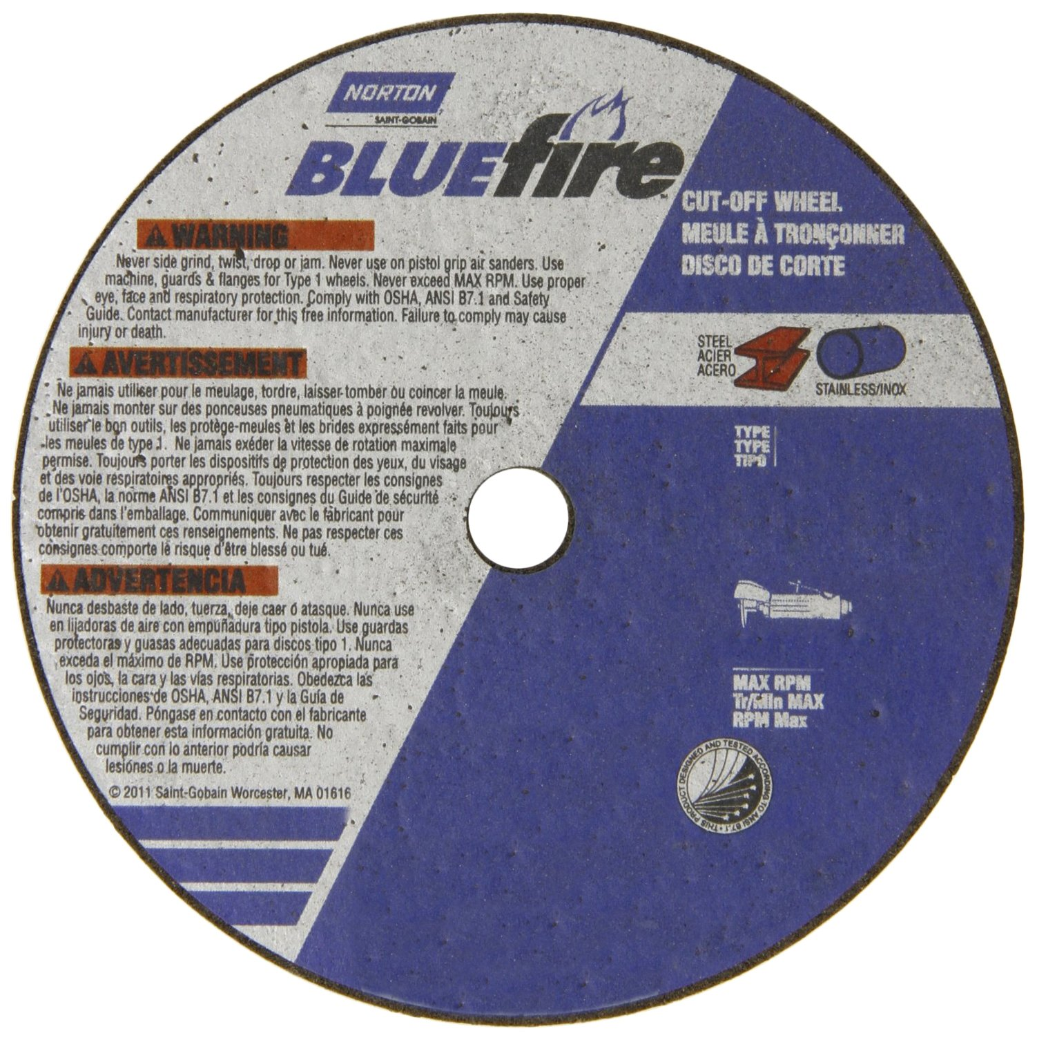 Norton Blue Fire Small Diameter Reinforced Abrasive Flat Cut-off Wheel, Type 01, Zirconia Alumina and Aluminum Oxide, 3/8'' Arbor, 3'' Diameter x 0.35'' Thickness (Pack of 25)
