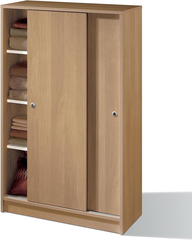 Armario Auxiliar Zapatero Multiusos Roble de 2 Puertas correderas, estantes Regulables para Oficina, despensa, Cocina. 120cm Alto x 74cm Ancho x 33cm Fondo