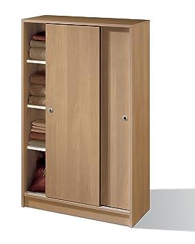 armario auxiliar zapatero multiusos roble de puertas correderas estantes regulables para oficina despensa