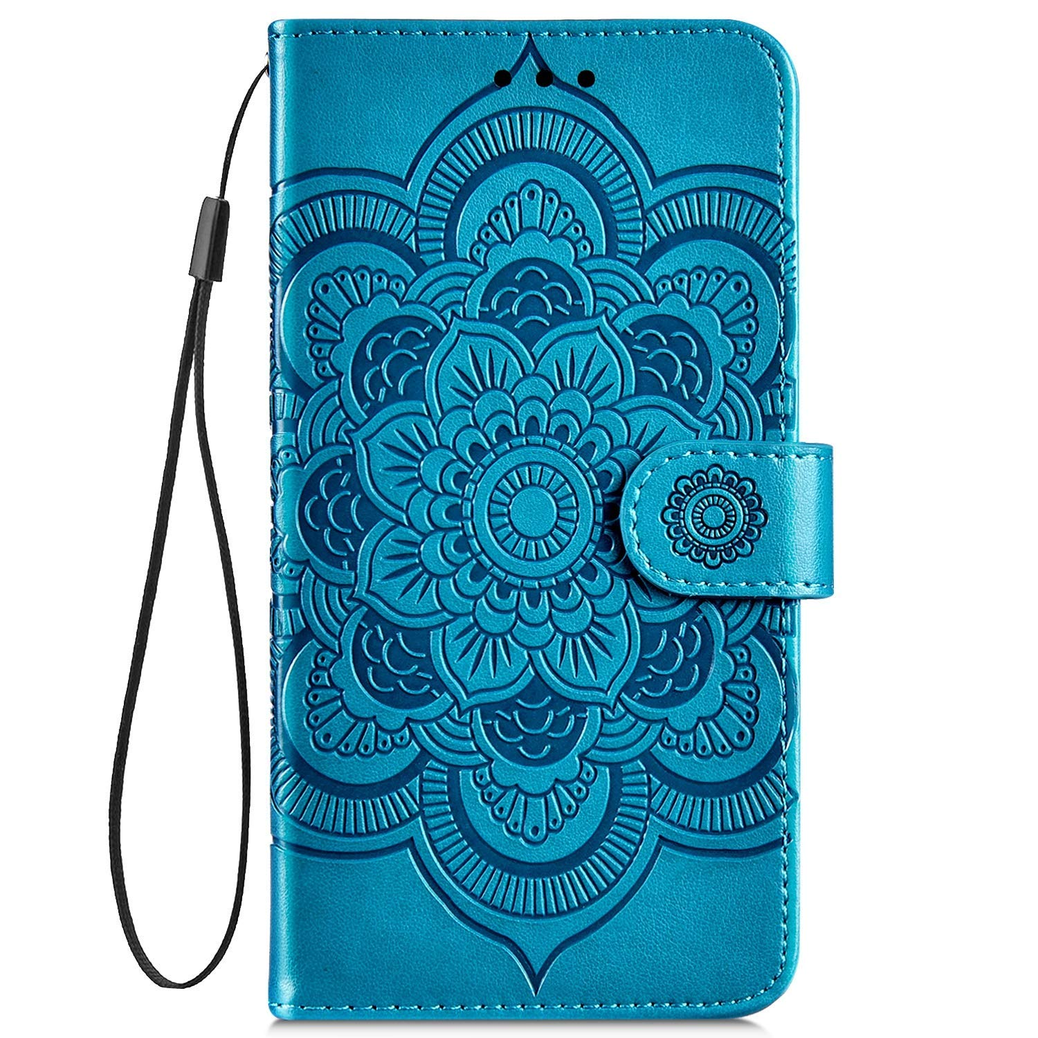 IKASEFU Compatible with Samsung Galaxy S10 Plus Case Emboss Sun mandala Floral Pu Leather Wallet Strap Case Card Slots Shockproof Magnetic Stand Feature Folio Flip Book Cover Protective Case,Blue