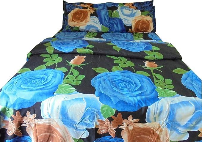 Riyasat Floral Design Blue Color Printed Double Bed Sheet Set 230