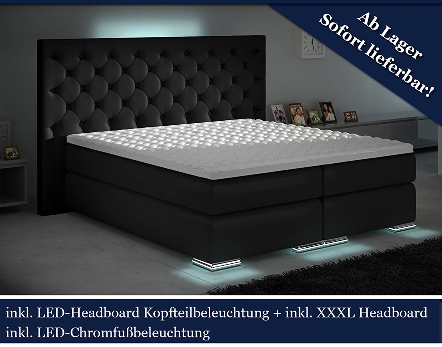 xxxl boxspringbett designer boxspring bett led schwarz chesterfield schwarz 200x200 bestellen. Black Bedroom Furniture Sets. Home Design Ideas