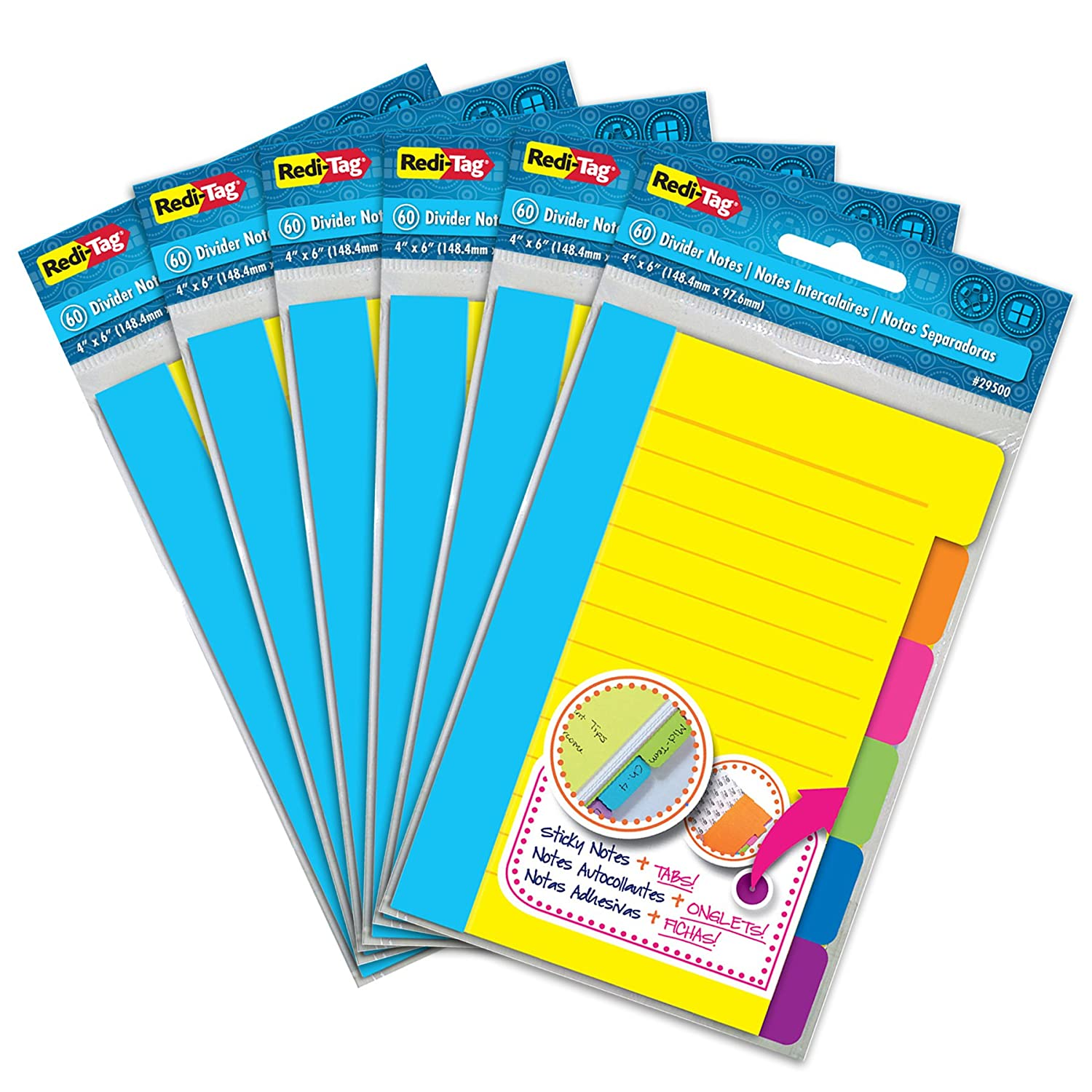 Redi-Tag Divider Sticky Notes, Tabbed Self-Stick Lined Note Pad, 60 Ruled Notes per Pack, 4 x 6 Inches, Assorted Neon Colors, 6 Pack (10291)