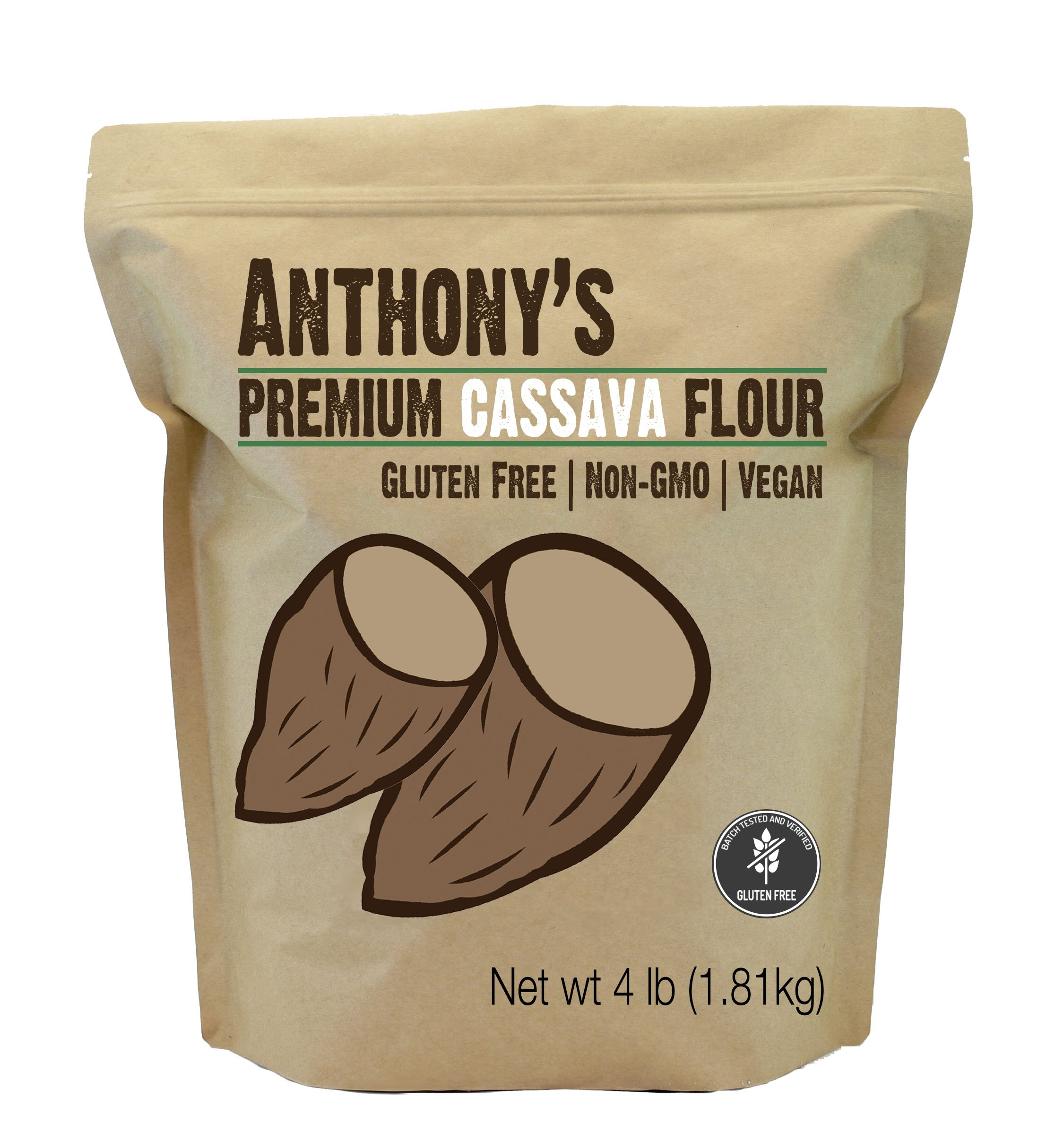 Cassava Flour by Anthony's, 4 pounds (64 Ounce), Batch Tested Gluten-Free