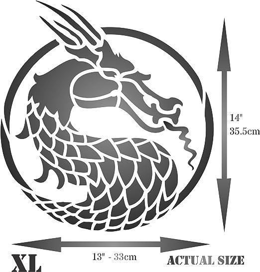 S /r/éutilisable asiatique Oriental chinois japonais mural Pochoir/ /Utilisation sur papier projets Journal de scrapbooking murs sols Tissu meubles en verre Bois etc T/ête de dragon Pochoir/