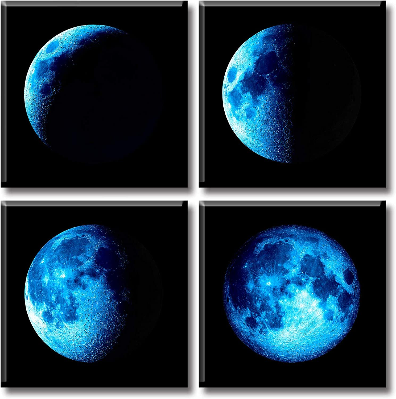 JiazuGo Canvas Wall Art Blue Moon Decor Black Universe Space Artwork Posters 12