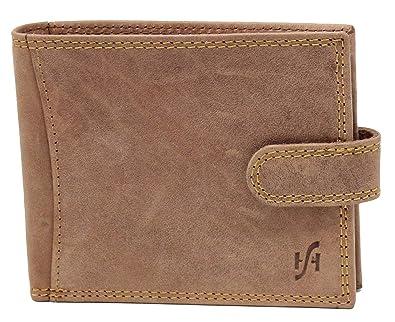 9f836a115fa5 STARHIDE Men's Designer Wallet RFID Blocking Distressed Hunter Vintage  Leather Coin Pocket Purse Gift Boxed - 1065 (Brown)