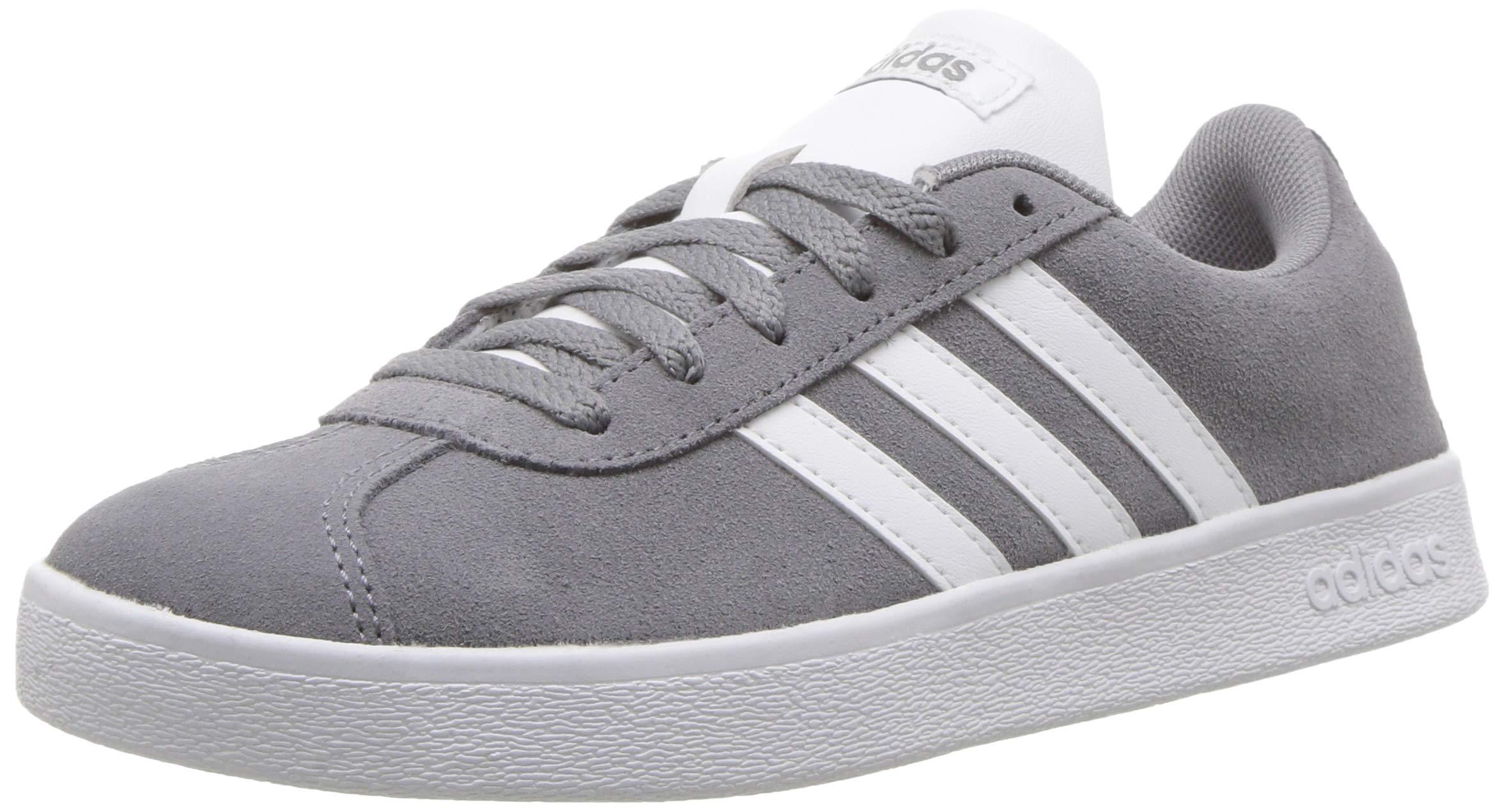 adidas Kids' VL Court 2.0 Sneaker, Grey/White/Grey, 1 M US Little Kid