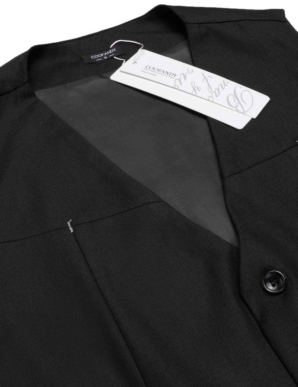Coofandy Men Casual Sleeveless V-Neck Fleece Front Zip Up Vest