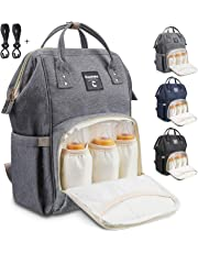 Conleke Diaper Bag Backpack for Baby Care, Multi-Functional Waterproof Travel Backpack Nappy Tote Bags Large Capacity Creative Fashion Package Best Gift for Mom&Dad (A-Grey(3 bottle bags in front))