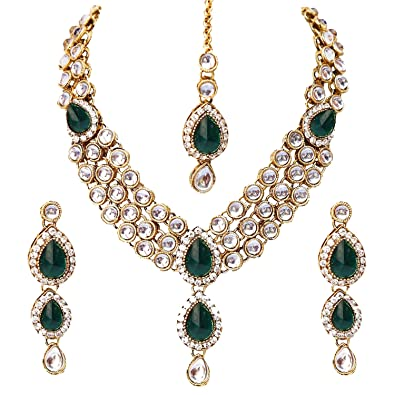 e5a4b775eb60c Lucky Jewellery Traditional Gold Plated Kundan Necklace Set for Girl &  Women (MSK-3-LINE-PARENT)