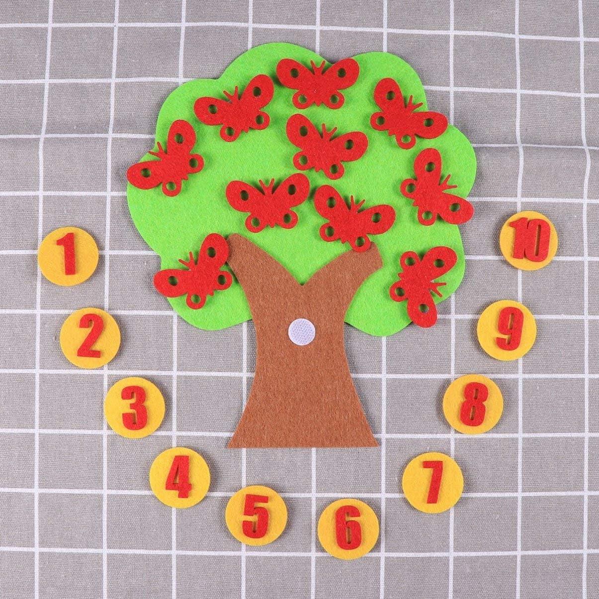 Healifty Filzbrett Spielzeug Digital Paarungsnummer Schmetterling Baum Vliesstoffe Diy P/ädagogisches Spielzeug f/ür Vorschulkindergarten Liefert