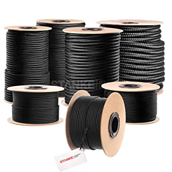 Seilwerk STANKE 1 m 2 mm cuerda de polipropileno trenzada pp negra amarra cuerda trenzada jarcias cuerdas de auxiliar