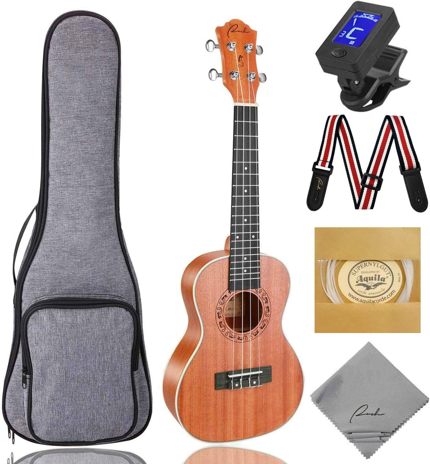 B073Q6KLGQ Concert Ukulele Ranch 23 inch Professional Wooden ukelele Instrument Kit With Free Online 12 Lessons Small Hawaiian Guitar ukalalee Pack Bundle Gig bag & Digital Tuner & Strap & 4 Aquila Strings Set 81RwNlph1aL
