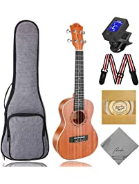 Concert Ukulele Ranch 23 inch Professional Wooden ukelele Instrument Kit With Free Online 12 Lessons Small Hawaiian...