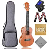 Concert Ukulele Ranch 23 inch Professional Wooden ukelele Instrument Kit With Free Online 12 Lessons Small Hawaiian Guitar ukalalee Pack Bundle Gig bag & Digital Tuner & Strap & 4 Aquila Strings Set