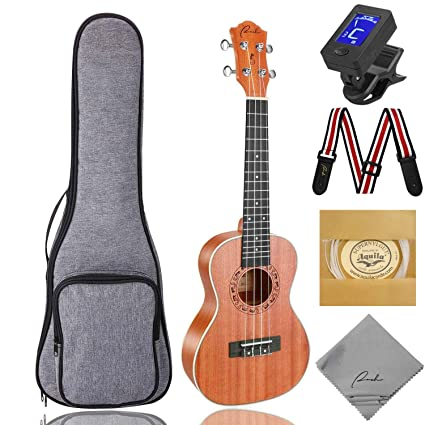 Concert Ukulele Ranch 23 inch Professional Wooden ukelele Instrument Kit With Free Online 12 Lessons Small Hawaiian Guitar ukalalee Pack Bundle Gig bag & Digital Tuner & Strap & 4 Aquila Strings Set best ukeleles