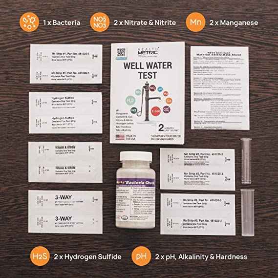 Amazon.com : Well Water Test Kit for Drinking Water - Quick and Easy Home Water Testing Kit for Bacteria Nitrate Nitrite pH Manganese & More | Made in The ...
