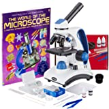 AmScope 40X-1000X Dual LED Light Student Microscope Package with Optical Glass Lens, All-Metal Framework, and Complete Accessories Kit