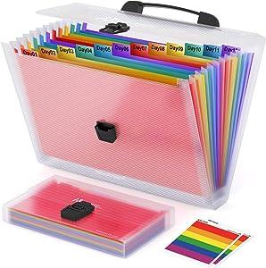 Expanding File Folder ActFaith 13 Pockets Multi-Colour Plastic Accordion Wallet Folders A4/A6 Size Handle Portable Document Letter Size Holder File Organizer for Office/School/Family-2 Pieces