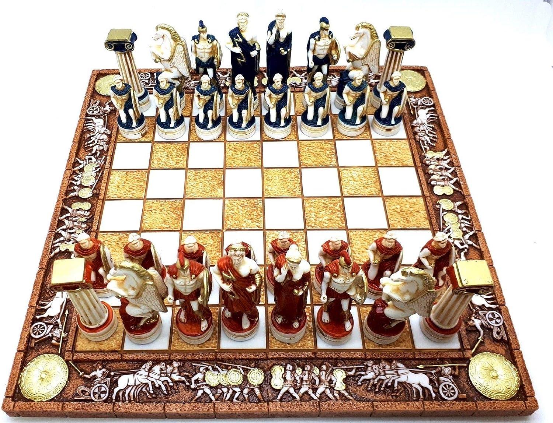 Juego de mesa de ajedrez y 32 piezas de figuras de dioses romanos griegos, hechos a mano: Amazon.es: Hogar